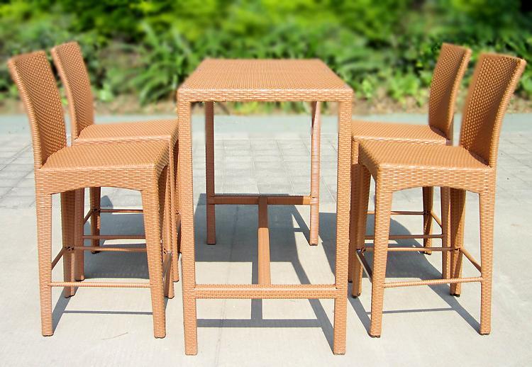 Salon de jardin table de Bar en rotin chaise tabouret de Bar ...