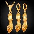 U7 sexy zapatos de tacón alto forma sistemas de la joyería de moda para las mujeres del partido amarillo chapado en oro del pendiente del collar s933