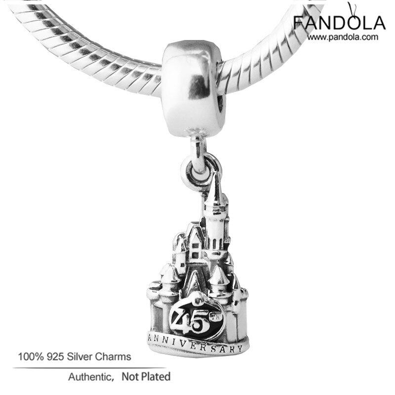 Fits Pandora Charm Bracelet 925 Sterling Silve Castle Magic Kingdom 45th Anniversary Beads Charm for DIY Bracelet Jewelry Making