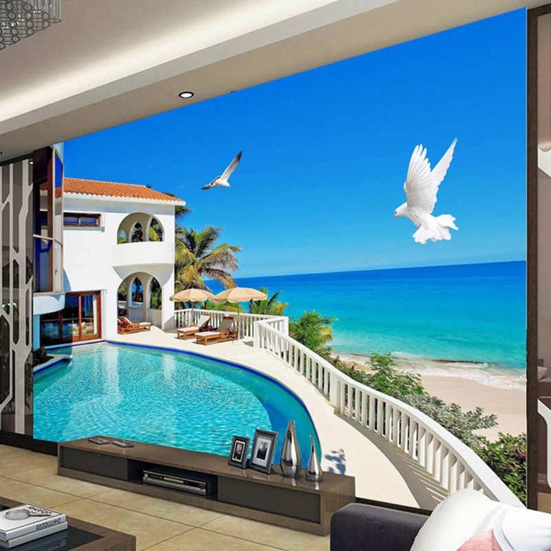 Custom Mural Wallpaper 3D Stereo Mediterranean Landscape Photo Wall Mural Living Room TV Sofa Backdrop Wall Papel De Parede 3 D