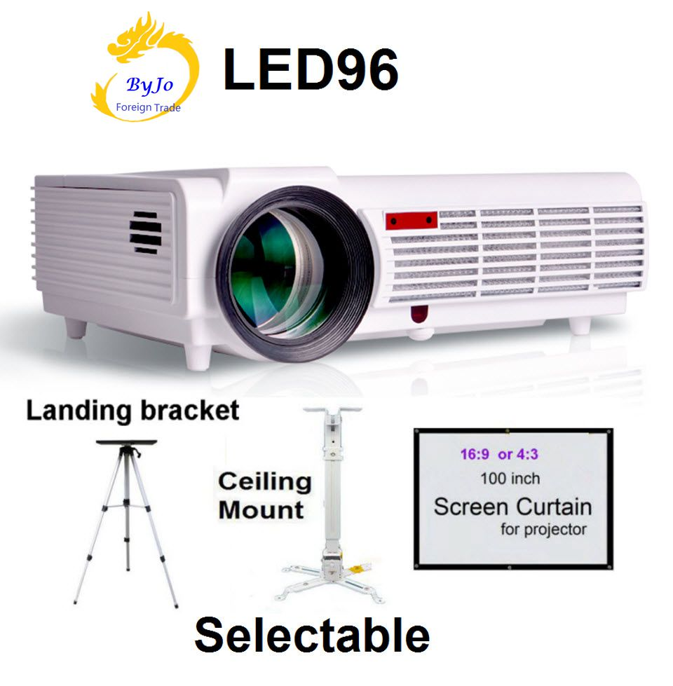 LED96 LED Projector Video HDMI USB 1280x800 Full HD 1080P Home theater projector High lumens proyector