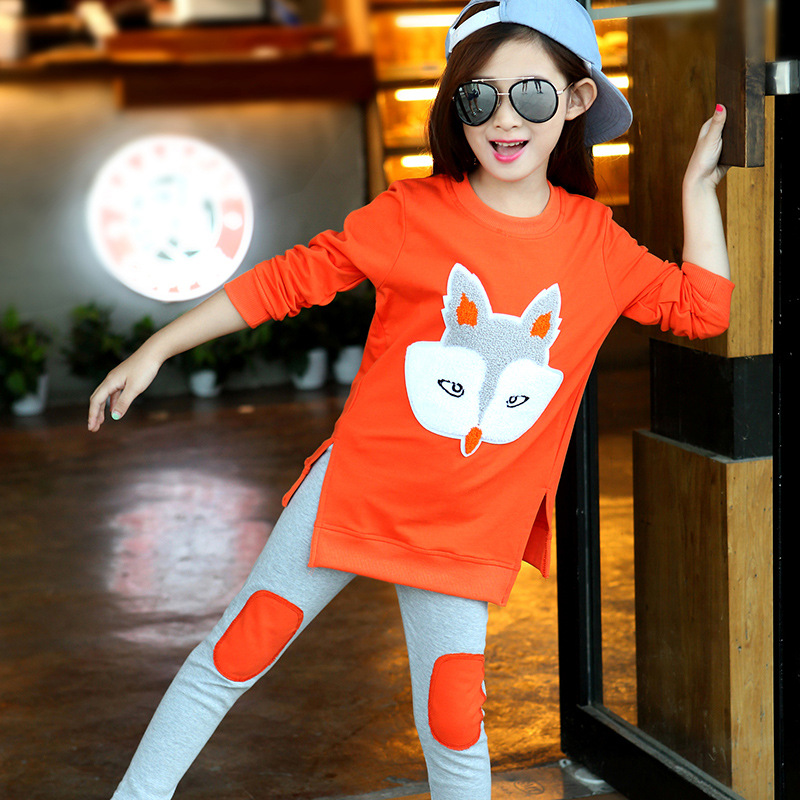 Girl Sportswear Spring & Autumn Clothing Set Long Sleeve Fox Shirt + Pants Fashion Sports Set 2 3 4 5 6 7 8 9 10 11 12 Y 6 boys camouflage sports suits 2017 new autumn cotton boys long sleeve sportswear 2 pcs set children clothing 3 5 7 9 11 14 y 6