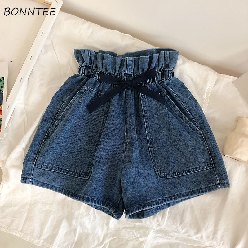 Shorts Women Flower Drawstring Waist Denim Short Female Summer Womens Trendy Korean Students Loose Double Pockets Sweet Chic Bow