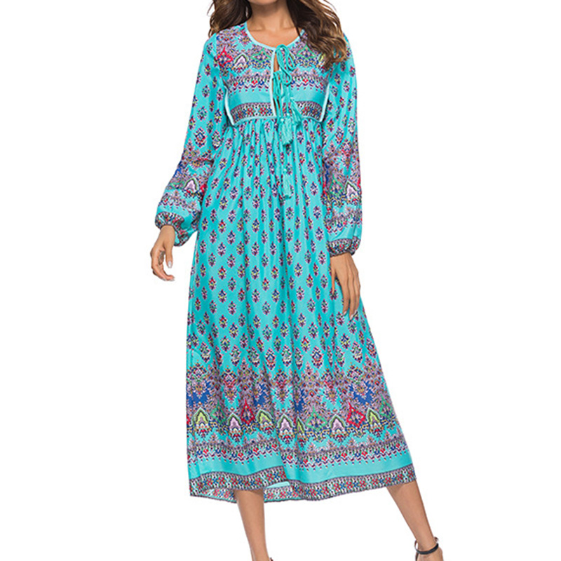 2018 Women Boho Beach Maxi Long Dress Lantern Sleeve Lace up Printed Tassels Loose Dresses Femme Elegant Casual Party Vestidos