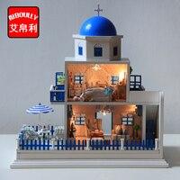 Santorini Blue House Wooden DIY DollHouse 3D Miniature Doll House Furniture Villas Dollhouses With Led Light
