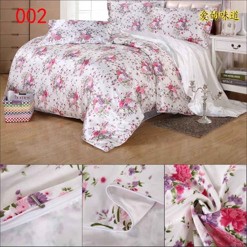 beige pink flower satin duvet cover twin full queen king 150x200cm 200x230cm 220x240cm 1pcs. Black Bedroom Furniture Sets. Home Design Ideas