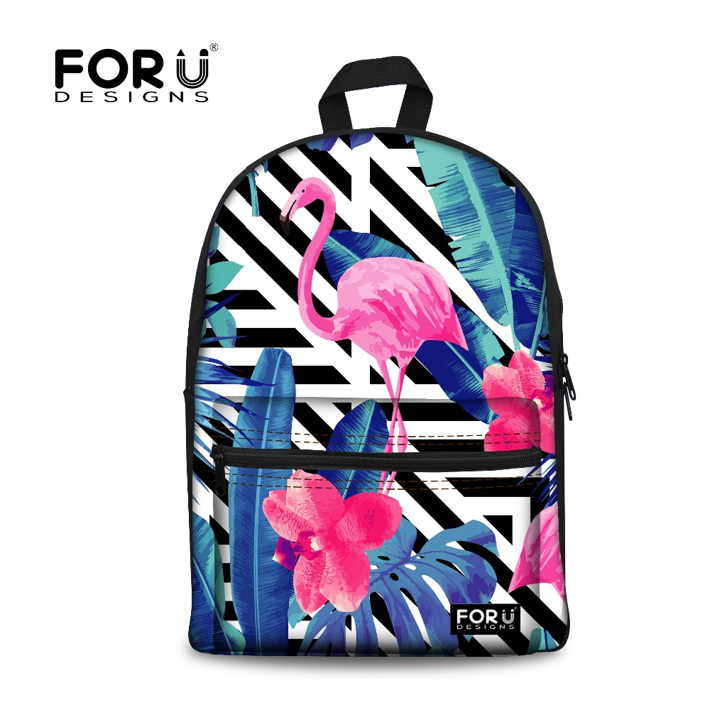 FORUDESIGNS Girls Backpack for Women Canvas Backpacks 2017 Flamingo Printing Teen Rucksack Bagpack Mochila Feminina School