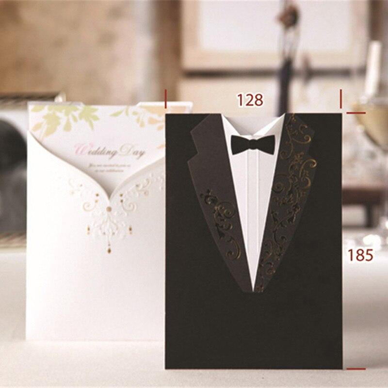 laser cut invitaciones de boda creativa elegante vintage novio y de la novia negro blanco formal