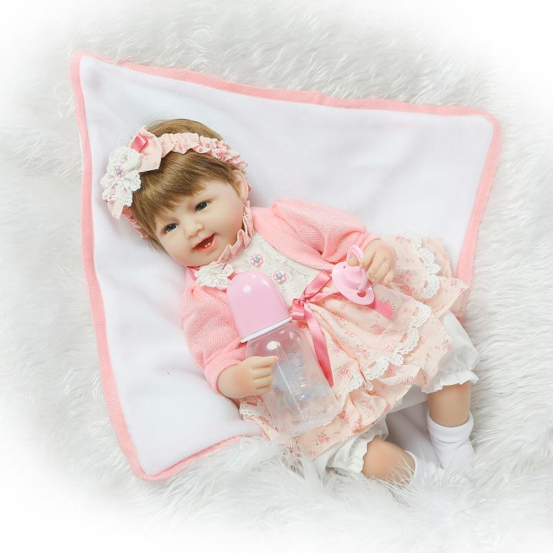 Фотография New 40CM Slicone reborn baby doll play house bedtime toys for kid girls brinquedos soft body newborn babies collectable doll