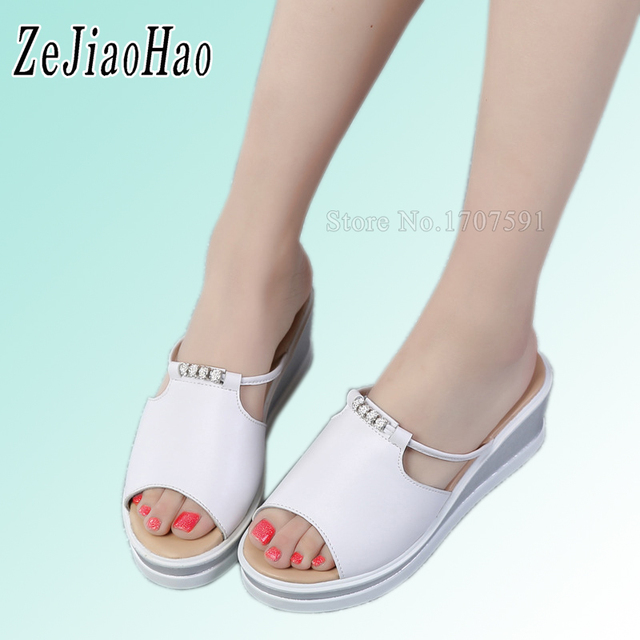 7b443e0fed97d4 2017 Summer Woman Shoes Platform bath slippers Wedge Beach Flip Flops High  Heel Slippers For Women Black Ladies Shoes K1922