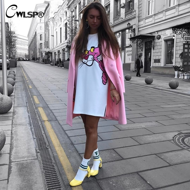 CWLSP Women Summer Dress 2017 Fashion Cartoon Leopard Print Straight TShirt Vestidos Side Pockets Casual vestidos mujer QA1737