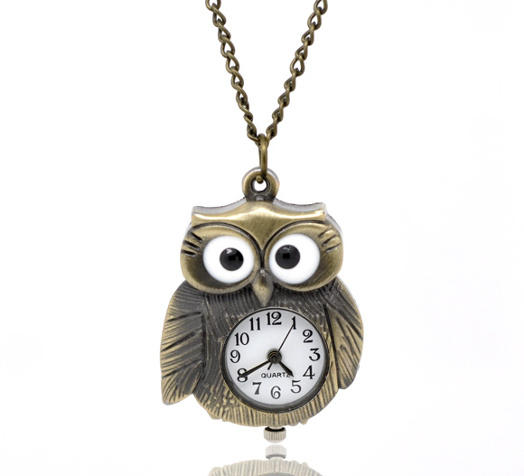 Pocket & Fob Watches Bronze Necklace Chain Robot Pattern Pocket Watches Kids Child Quartz Women Men Clock Creative Gift
