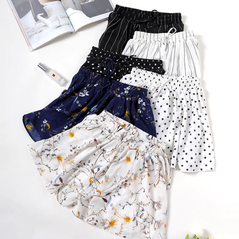 2020 Summer Women Print Casual Wide Leg High Waist  Loose Chiffon Slim Shorts Stripe Leisure Elastic Waist Short!