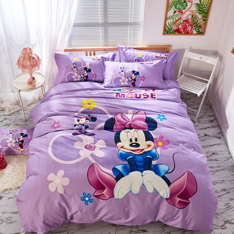 Purple Disney Minnie Bedding Set Twin Size Bedspread Queen Comforter Duver Covers Girls Bedroom Decor 100% Cotton 3 5 pcs Kids