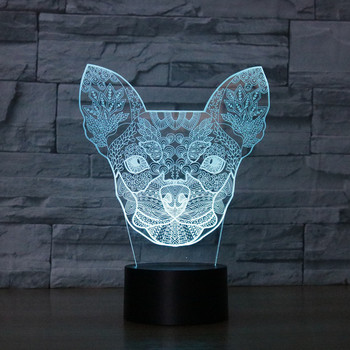 Chihuahua Acrylic 3D Small Dogs Optical Illusion Night Light, 7 Colors LED Night Light, Home Decoration for  Kids Gift wedding decor i love you heart 3d optical illusion mood light 7 colors change luminaria lava lamp kids night light novelty gifts