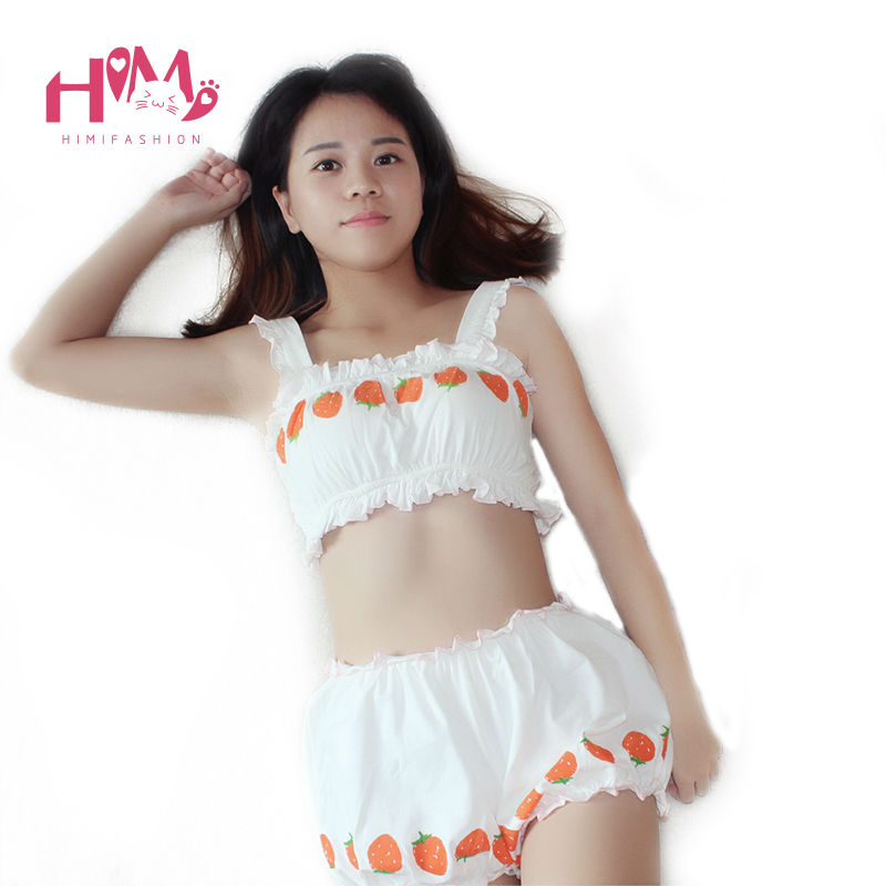 Cute Japanese style strawberry graphic pajama sets women cotton underwear set bar pants for girls white color homewears A set 1