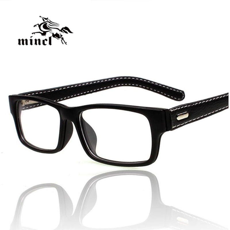 minclgimmax square frame glasses vintage black leather eyeglasses frame myopia plain glass spectacles