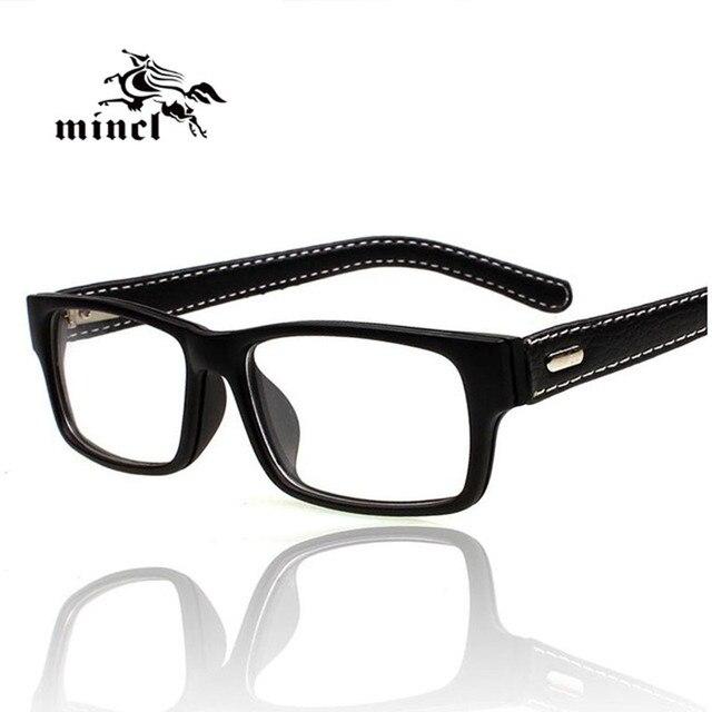 Mincl Gimmax occhiali cornice di piazza annata degli occhiali in pelle nera miopia  occhiali di ac20ee752f