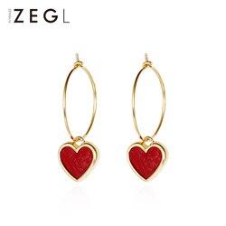 ZEGL female earrings jewelry earrings fashion peach heart pendant red heart earrings earrings accessories