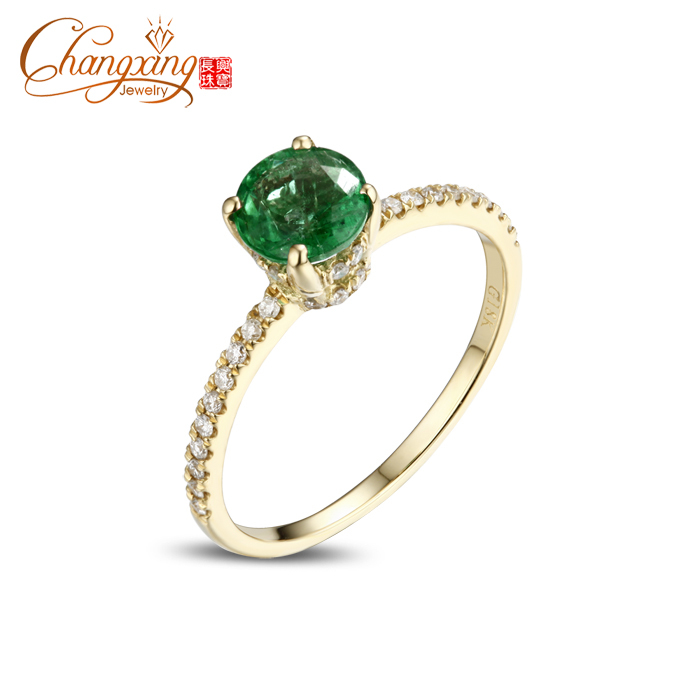 14k Gold 1 05ct Natural Round Colombian Emerald Full Cut Diamond