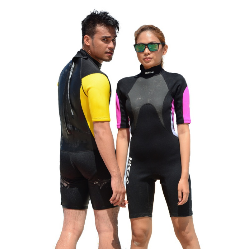 3mm Summer Wetsuit Men Women Rash Guards Middle Sleeves One Piece Water Sports Diving Jumpsuits Swimwear New