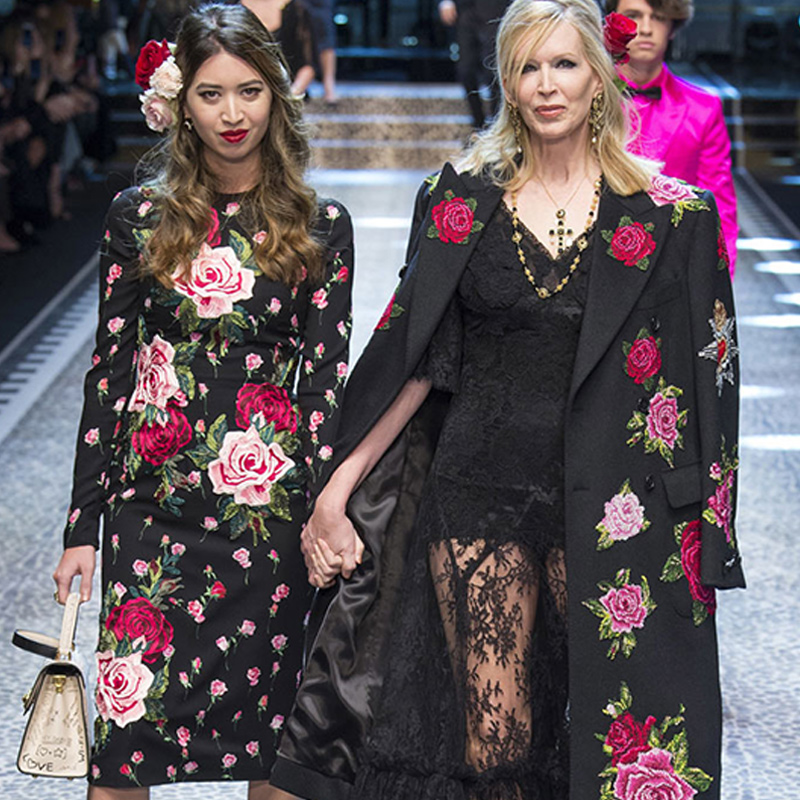 Femme Robes Manches Femmes Vêtements Parti Longue Noir Élégante Automne À Piste Robe Vintage Broderie Floral Été 2018 Longues qF8xXwvIX