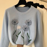 Autumn Winter Sweater 2018 New Fashion Dandelion Embroidery Solid Color Thickened Warm Sweater Jumpers Student Pullover Coat