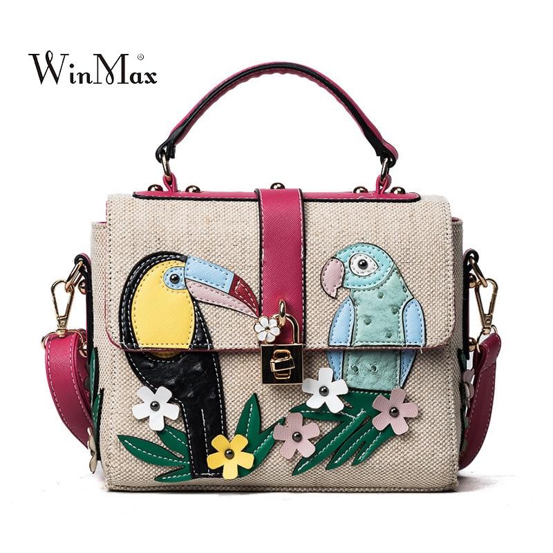 2018 New Women's Weave Leather Shoulder Bags Fashion Female Handbags Girls Crossbody Bag Floral Printing Bolsas Women Summer Bag