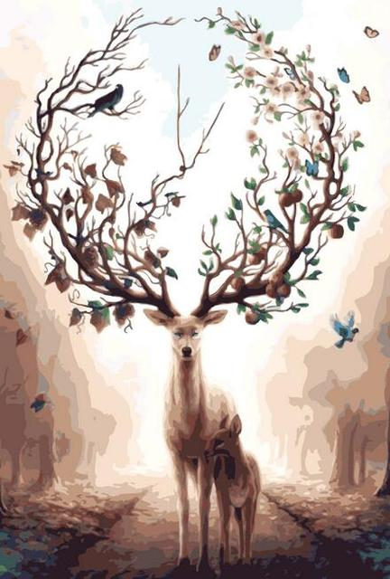 deer animals diy painting by numbers kits drawing painting picture
