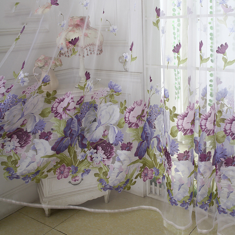 Luxury Peony Flower Burnout Tulle Curtains For Bedroom Living Room Organza Sheer For Kitchen Door Window Treatments Ready Made