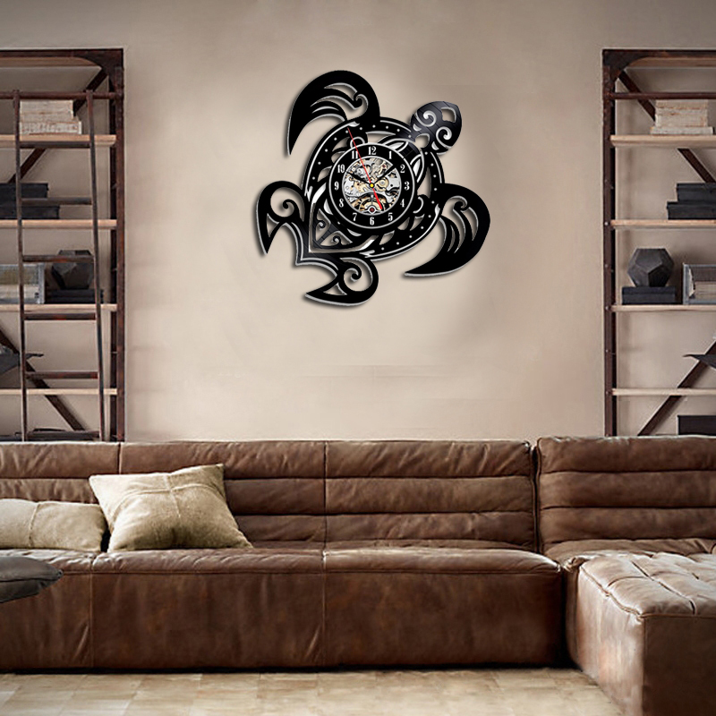 CHAUDE Mer Tortue Forme Classique Mur Horloges Vitesse Horloge Visage Décoration Art Horloge Disque Vinyle Horloge Murale