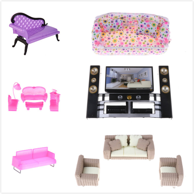 1set Miniature Furniture Fabric Model Sofa And Chair Set Mini Dollhouse Miniature Living Room Furniture With TV And Cushion