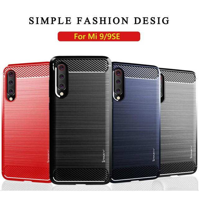 IPAKY Shockproof Phone Case Silicone Carbon fiber Cover On For Xiaomi MI 9 SE 9T Pro Mi9 9SE Mi9t t Global 64/128/256 GB Xiomi