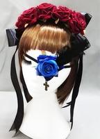 Nuevas Flores de La Cinta de La Vendimia Venda de La Muchacha Punky Hairband Accesorios Del Pelo Del Partido de Cosplay Lolita Maid Con Rosa Mariposa Parche en el Ojo