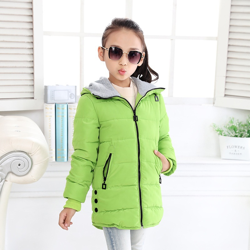 Asta Betty Girls Outerwear Coat Solor Zipper Hooded Down Cotton Black Red Long Baby Kids 10 11 14 Girls Winter Parkas