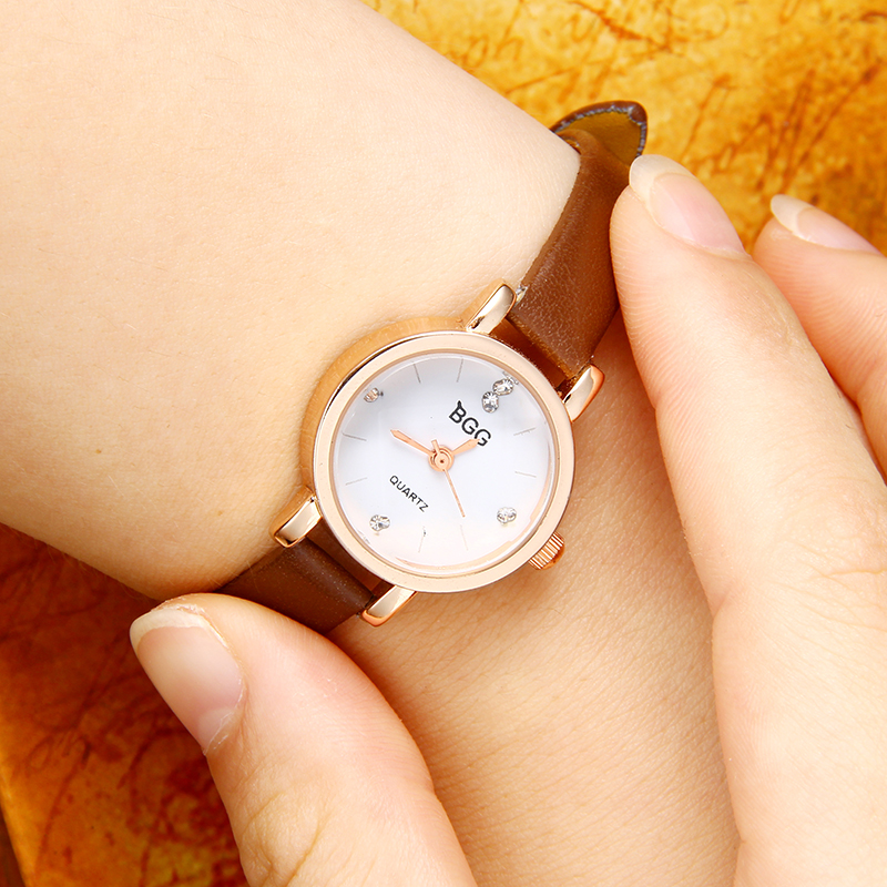 Wathes Women Ladies Simple Small Round Dial Rose Gold Skeleton Leather Womens Watches 2017 Top Brand Casual Quartz Watch bgg kimio exquisite zircon small dial hand chain bracelet watch strap rose gold quartz watch women clock womens watches top brand
