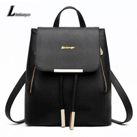 Women Pu Leather Knapsack Ladies Burgundy Backpack Stylish School Bags For Teenage Girls Mochilas Female Charming