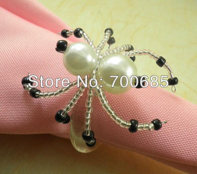 bulk cheap pearl beades napkin ring acrylic wedding napkin holder