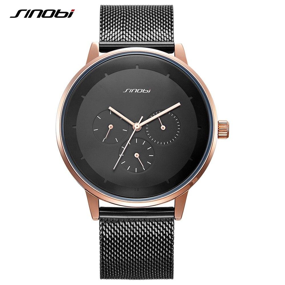 Fashion Quartz Men Watches SINOBI Top Brand Luxury Business High Quality Alloy Slim Mesh Strap Casual Week Clock Calendar Watch