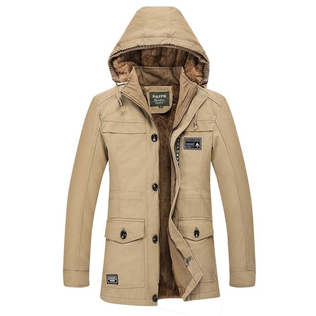 Warm Fleece Winter Coat Men Long Jacket Hooded Stand Collar Cotton Man Cloak Overcoat Mens Fitness Trench Streetwear M-6XL Plus