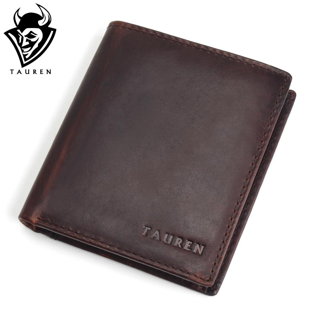 TAUREN Men Wallets Vintage Crazy Horse Genuine Leather Zipper Wallet Card Holder Coin Pocket Men's Purse Male Carteira simline genuine leather men wallet men s vintage crazy horse cowhide short wallets purse with coin bag pocket card holder male