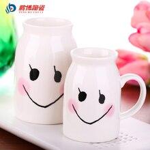 Niedlichen Cartoon Lächeln Gesicht Weiß Keramik Milch Becher Tasse Büro Schöne Mädchen Kaffeetasse Kostenloser Versand