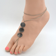 Women Summer Foot Jewelry Vintage Turkish Silver Stamped Coin Slave Chain Toe Beach Tribal Sandals Anklet