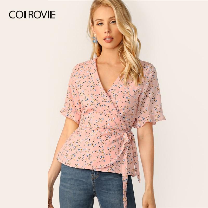 COLROVIE Pink V Neck Ditsy Floral Print Tie Side Surplice Wrap Boho Peplum Top Women   Blouse     Shirt   2019 Summer Slim Fit   Shirts