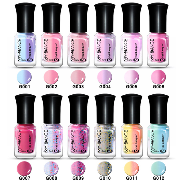 6ml Sunlight Color Change Nail Polish Water Based Varnish Thermal Changing Long Lasting Lacquer