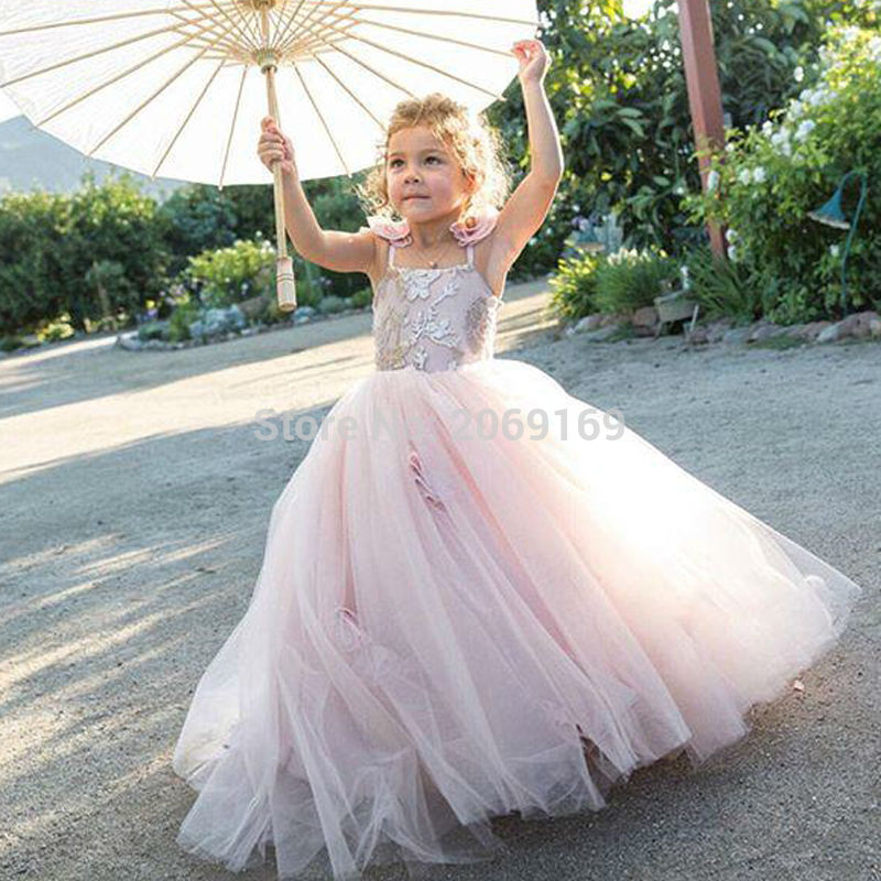 Beautiful pink   flower     girls     dresses   for weddings 2019 Spaghetti first communion   dresses   for   girls   Pageant   dresses   Sweep Train