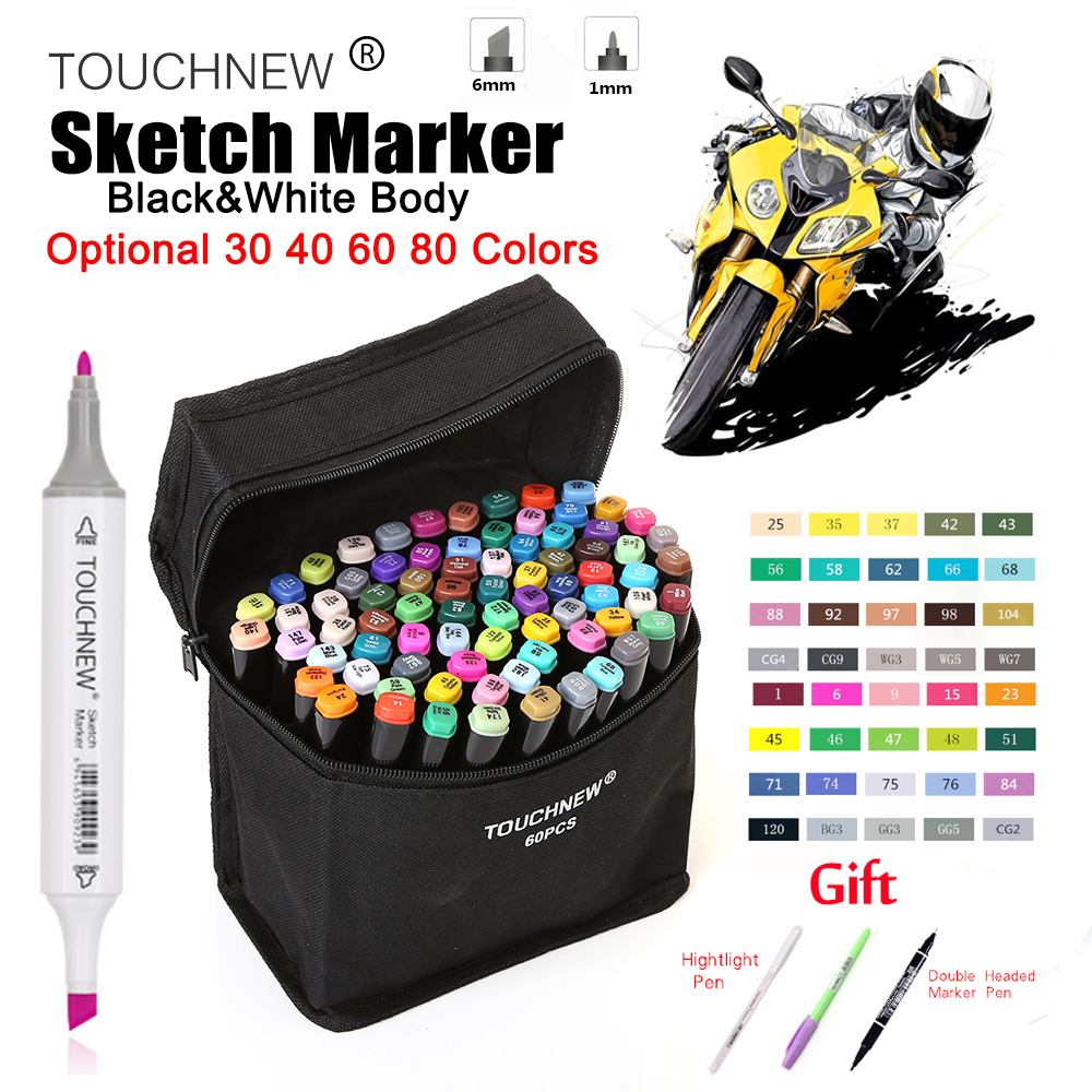 TOUCHNEW 40/60/80 Optional Colors Marker Alcohol Based Art Sketch Markers Drawing Pen Set Manga Dual Headed Marker Design Pens touchnew 36 48 60 72 168colors dual head art markers alcohol based sketch marker pen for drawing manga design supplies