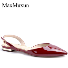 MaxMuxun Womens Sling Back Flat Chunky Heels Sandals Ladies Fashion Low Pointed Toe Casual Court
