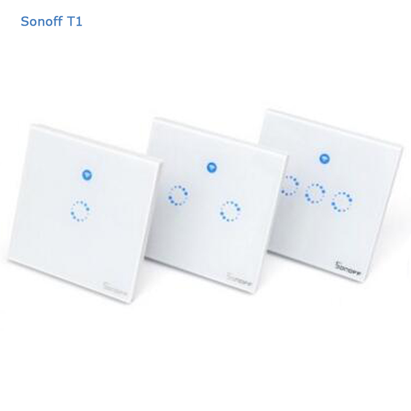 Sonoff T1 Smart Switch 1-3Gang WiFi & RF 86 Type UK Smart Wall Touch Light Switch Smart Home Automation Module Remote Control 86 type one touch switch intelligent home wireless radio frequency remote control wall switch