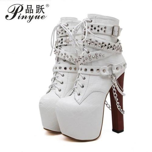 Zip Metal Chains Rivet Motorcycle Boots Women Shoes Super High Heels Platform Ankle Boots Punk Rock